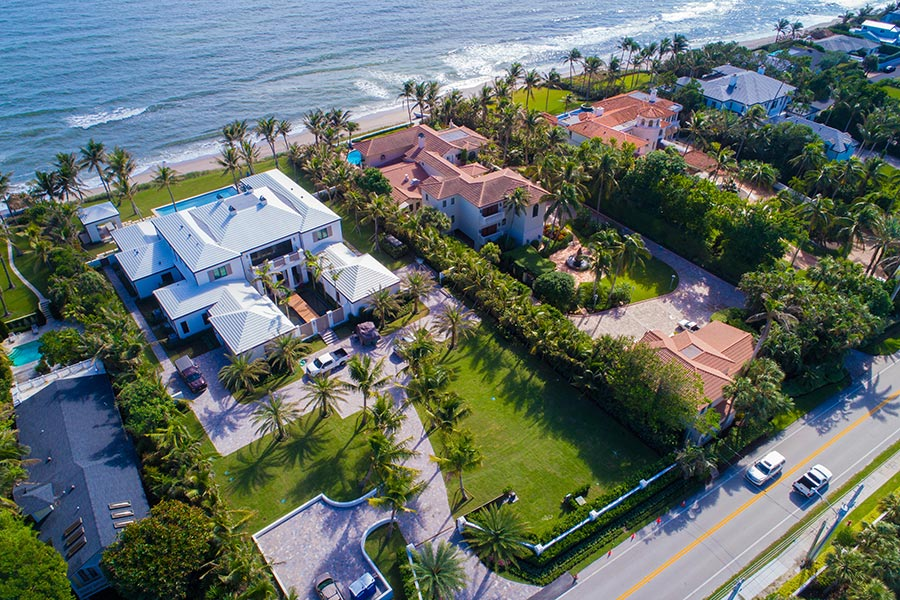 Aerial shot of beachfront Florida homes